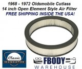 1968 - 1972 Cutlass Air Cleaner Element Air Filter 14 Inch Open Element or Cowl Induction style