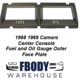 1968 - 1969 Camaro Console Gauge Trim Plate Oil / Fuel Gauges