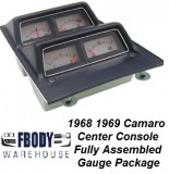 * 1968 1969 Camaro Center Console Complete Gauge Cluster Fully Assembled w/o Low Fuel Warning