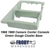 1968 - 1969 Camaro Console Gauge Housing Green Tint Gauge Cluster Base
