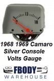 1968 1969 Camaro Center Console Mounted Volts Gauge Silver Face
