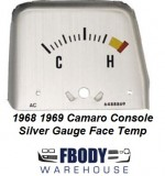 1968 1969 Camaro Center Console Mounted Temp Gauge Silver FACE PLATE