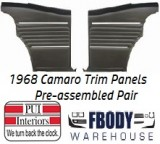 1968 Camaro Standard Rear Interior Panels Hard Top 5 Colors Available w/ Chrome