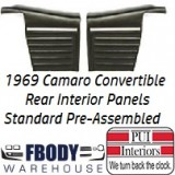 1969 Camaro Convertible Standard Rear Interior Panels Hard Top 6 Colors Available w/ Chrome Assembled