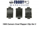 1969 Camaro Cowl Induction Flapper Valve Clip Set 3 pc