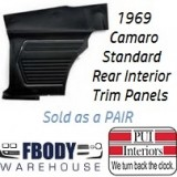 1969 Camaro Standard Rear Interior Panels Hard Top 6 Colors Available w/ Chrome Assembled