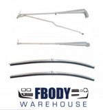 1970 - 1981 Camaro Trans Am Windshield Wiper Set NEW Full Kit Brushed Metal Finish