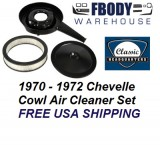 1970 - 1972 Chevelle Air Cleaner Assembly Cowl Induction With Black Lid