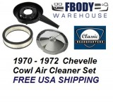 1970 - 1972 Chevelle Air Cleaner Assembly Cowl Induction Chrome Lid