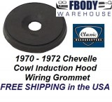 1970 - 1972 Chevelle Cowl Induction Wiring Hood Rubber Grommet