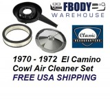 1970 - 1972 El Camino Air Cleaner Assembly Cowl Induction Chrome Lid