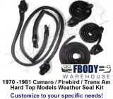 "1970 - 1981 Camaro Trans Am HARD TOP WEATHER SEAL Kit ""Customize to your needs"""