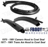 1970 - 1981 Camaro Trans Am Cowl Weather Seals w/ Clips Metro Moulded