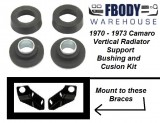1970 - 1973 Camaro Vertical Radiator Support Bushing and Cushion Kit