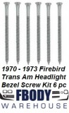 1970 - 1973 Trans Am Head Light Bezel Screw Kit 6 pc