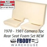 1970 - 1981 Camaro New Replacement Seat Foam 3 Pc Rear Seat Set