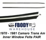 1970 - 1981 Camaro Trans Am Inner Window Felts Door Panel Weather Seals PAIR