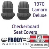 1970 Camaro Deluxe CHECKER BOARD Front & Rear Seat Covers LOW BACK
