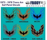 1973 - 1978 Trans Am Sail Panel Decals 6 Available Colors