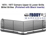 1974 - 1977 Camaro Upper & Lower Billet Grills CUSTOM GRILLS NEW