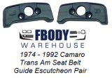 1974 - 1992 Camaro and Trans Am Seat Belt Guide Mount Block Escutcheon Pair