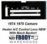 1974 - 1975 Camaro Heater Control Lens WHITE Letters w/ Backer WITH Air Conditioning