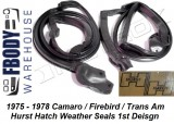 1975 - 1981 Camaro Trans Am Hurst T-Top Weather Seals Primary 1st Design Metro Moulded