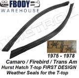 1975 - 1978 Camaro Trans Am Hurst Hatch Weather Seals 1st Design Secondary Seals Metro Moulded