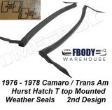 1976 - 1978 Camaro Trans Am Hurst Hatch Weather Seals 2nd Design Secondary Seals Metro Moulded