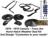 1976 - 1978 Weather Seal Kit  T-top Hurst Hatch Camaro Trans Am SECOND DESIGN * Customize To Your Needs *