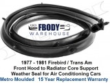 1977 - 1981 Trans Am Core Support to Hood Weather Seal NEW Metro Moulded