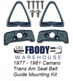 1970 - 1981 Camaro and Trans Am Seat Belt Guide Set Full Set Triangle Guides NEW 10 Piece w/ INSTALL VIDEO