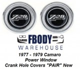 1977, 1978, 1979, Camaro Z28 Power Window Crank Hole Cover Door Panel Emblems NEW PAIR