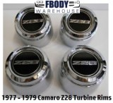 "1977 - 1979 Camaro Z28 Center Caps YJ8 Aluminum Rims ""Turbine Style"" [ clone ]"