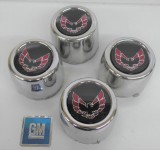 Trans Am Center Caps Red Bird STAINLESS STEEL Set of 4 GM Units w/ NEW EMBLEMS