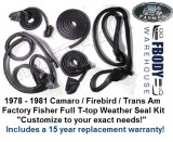 "** 1978 - 1981 Camaro Trans Am Fisher T-top FULL WEATHER SEAL Kits ""Customize for your needs"" **"