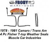1978 - 1981 Camaro Trans Am Fisher T top Weather Seals Primary 4 pc Kit Muscle Car Industries