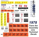 1978 Trans Am Assembly Line Technical Decal Kit