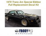 1978 Trans Am SE Black & Gold Special Edition Decal Kit