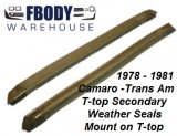 1978 - 1981 Camaro Trans Am T Top Secondary Weather Seals  PAIR Muscle Car Industries
