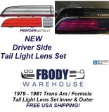 1979 1980 1981 Trans Am / Firebird Formula Tail Light Lens Set Driver Side NEW GM Authorized Reproduction!