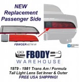 1979 1980 1981 Trans Am / Firebird Formula Tail Light Lens Set Passegner Side NEW GM Authorized Reproduction!