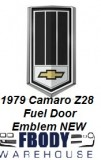 1979 Camaro Z28 Fuel Door Emblem Triple Black NEW