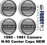 1980 - 1981 Camaro Aluminum Rims N90 Center Caps Set of 4 NEW
