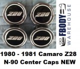 1980 - 1981 Camaro Z28 Aluminum Rims N90 Center Caps Set of 4 NEW