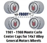 1981 - 1988 Monte Carlo 14 x 7 Alloy Wheel Center Caps Set of Four NEW