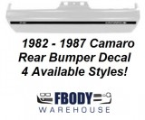 1982 - 1987 Camaro Rear Bumper Filler Decal (4 styles to choose from)
