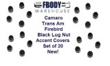 1982 - 1992 Camaro Trans Am Lug Nut BLACK CAP COVERS Set of 20 NEW