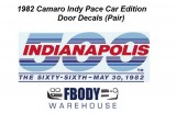 1982 Camaro Indy Pace Car Door Decals (Pair)
