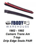 1982 - 1992 Camaro Trans Am T Top Weather Seals Glass Edge Drip Rubber Version PAIR Muscle Car Industries